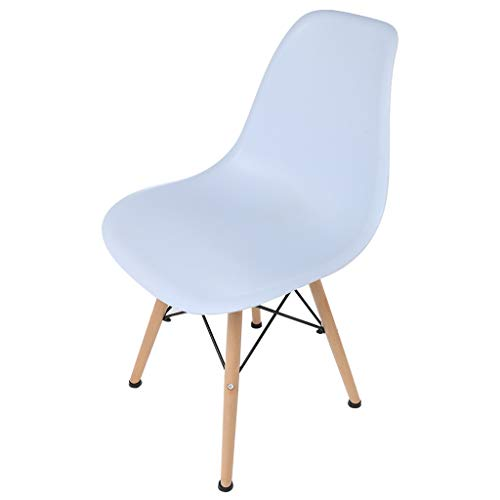 Fine Modern Style White Armless Chair Set of 4 Side Chair with Beech Wood Leg for Kitchen, Office,Dining, Coffee Shop,Living Room Chair to Easy Assemble and Clean (White) (Beechwood Set Bedroom)