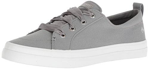 SPERRY Women's Crest Vibe Satin LACE Sneaker, Grey, M 090 Medium US