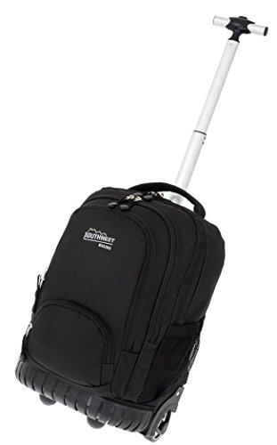 SOUTHWEST Trolley Rucksack SAMMY2 mit Kunststoffboden + Trinkflasche (Schwarz 0100)