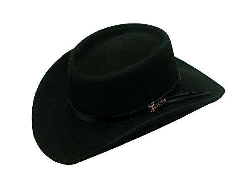 Wool Gambler Felt Hat Style - Twister Men's Crushable Gambler Hat, Black, X-Large