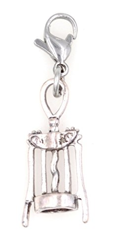 Corkscrew Wine Clip on Charm ZC 99Ac (Pet Charm Sweet)