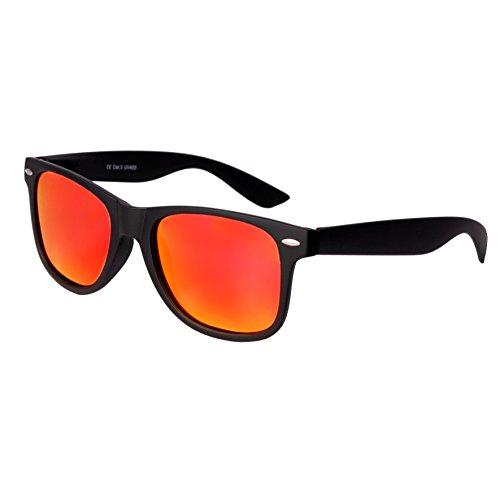 Nerd Sunglasses Matt Rubber Style Retro Vintage Unisex Glasses Spring Hinge Black - 24 Different Models (Black-Red/Orange, - Style Nerd Men