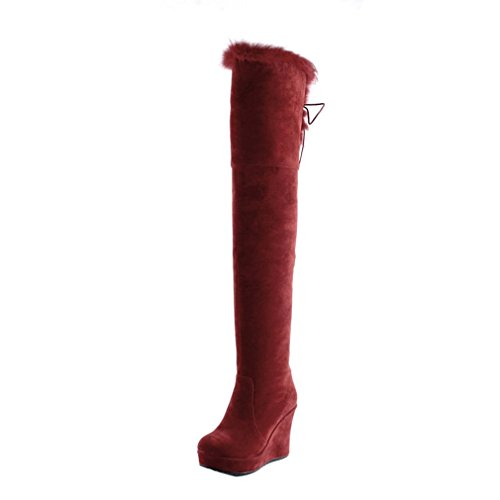 ENMAYER Womens Sexy Furry Warm Platform Round toe Zip Stiletto Wedge Heel Over the Knee Boots Dress Shoes Red AXeqAvenzF
