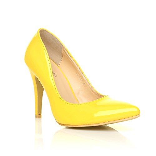 PU Yellow en zapatos High de Stilleto UK Patent punta Darcy ShuWish Leather corte Heel xSAIq1fw