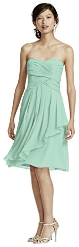 Short Crinkle Chiffon Bridesmaid Dress with Front Cascade Style F14847, Mint, 14]()