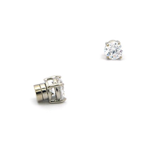 4mm Round Cut Clear Cubic Zirconia 4-Prong Magnetic Stud Earrings in Silver-Tone CZRM-R4