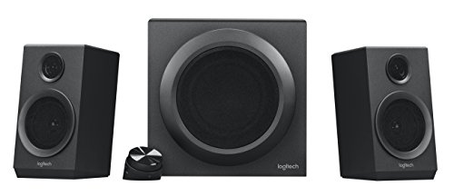 80 Watt Speaker System - Logitech Z333 2.1 Speakers – Easy-access Volume Control, Headphone Jack – PC, Mobile Device, TV, DVD/Blueray Player, and Game Console Compatible