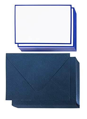 - Blank Invitation Cards – 48-Pack Plain Cardstock and Envelopes, Blue Foil Border, Flat Cards for DIY Holiday Card, Greeting Card Stock, Party Invite, Wedding, Birthday, Postcard Style, 4 x 6 Inches