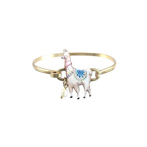 Wonderent White Llama Fashion Bangle -