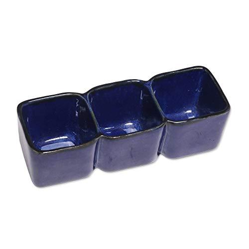 - NOVICA Blue Hand Crafted Ceramic Food Safe Serving Bowl, 3 oz, Indigo Party'