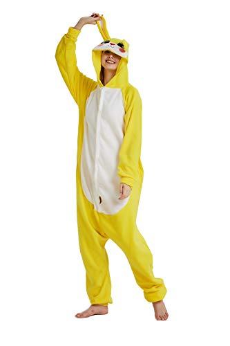 NINI.LADY Unisex Sleepsuit Pajamas Cosplay Costume Adult Sleepwear… (Large, Yellow Rabbit) ()