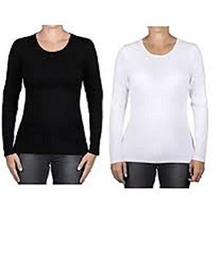 k Long Sleeve Layering Crew Neck T-Shirts (Black/White, Medium) ()