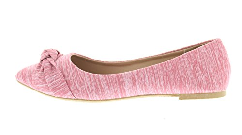 Gold Women's with Flat Ballet Toe Pointed Dress On Eve Knit Toe Arch Ruched Shoe Support Knotted Pink Slip Bow B5qrBwFZ