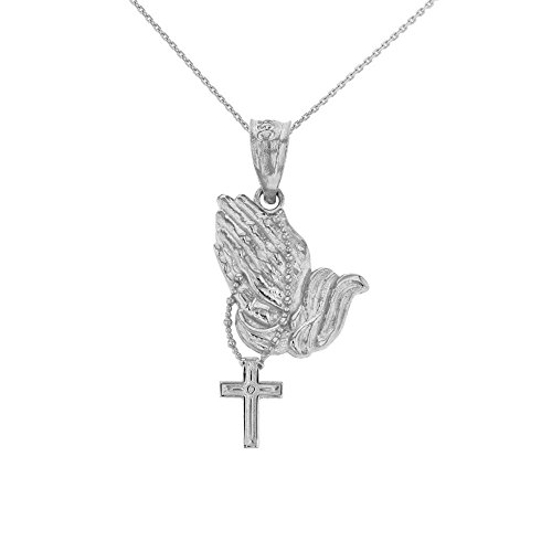 925 Sterling Silver Prayer Hands With Prayer Beads Charm Pendant Necklace, 20