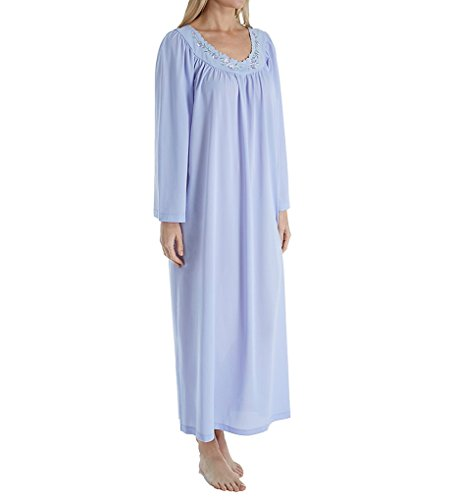 Unmentionables Petals Long Sleeve Embroidered Yoke Gown (6299) 3X/Periwinkle (Periwinkle Nightgown)
