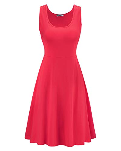 STYLEWORD Women's Sleeveless Casual Cotton Flare Dress(Red,M) ()