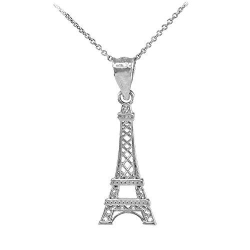 Collier Femme Pendentif 10 Ct Or Blanc Tour Eiffel (Livré avec une 45cm Chaîne)