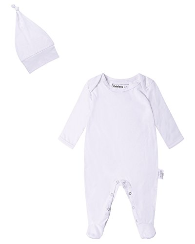 Kidsform Infant Baby Unisex Cotton Solid Footed Romper Onesie Bodysuit Pajamas With Hat White 3-6M