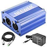 Neewer 1-Channel 48V Phantom Power Supply with Adapter and XLR Audio Cable for Any Condenser Microphone Music Recording Equipment (Blue) by Neewer