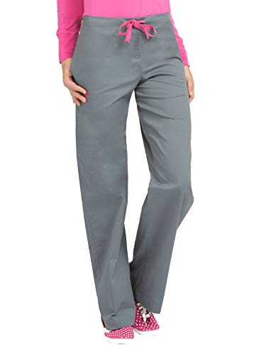 Med Couture Signature Drawstring Scrub Pants for Women, Steel/Cotton Candy, Small Petite