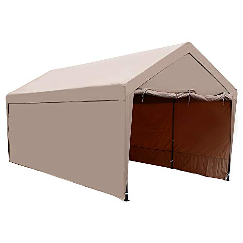 LCH 10 x 20 ft Outdoor Carport, Car Canopy Garage Shelter, Heavy Duty 8 Legs All Steel Frame with Full Detachable Sidewall, Water Resistant UV-Treated Cover, Beige