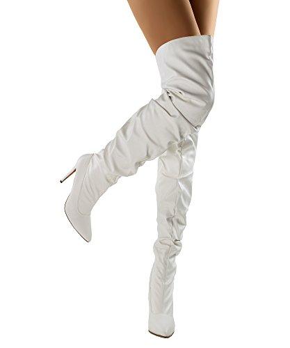 RF RAUM DER MODE Elza-1 Vegane Slouchy Pointy Overknee Stiletto Heel Stiefel Weißer Pu