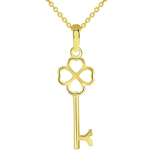 Solid 14K Yellow Gold Simple Four Leaf Clover Love Key Charm Good Luck Pendant Necklace, 22
