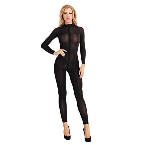 Ranrann Womens Sheer See Through Bodystockings Crotchless Bodysuit Babydoll Teddy Catsuit Clubwear