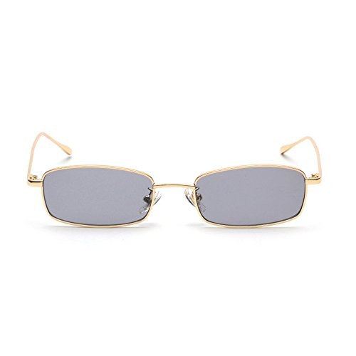 MINCL/Unisex Small Rectangle Sunglasses Red lens Yellow Metal Frame Clear Lens Sun Glasses - Sunglasses Rectangle Frame