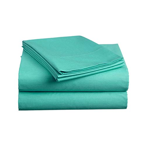 (Luxe Bedding Sets - Queen Sheets 4 Piece, Flat Bed Sheets, Deep Pocket Fitted Sheet, Pillow Cases, Queen Sheet Set - Turquoise)