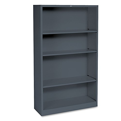 HON Metal Bookcase - 4-Shelf Bookcase, 34-1/2w x 12-5/8d x 59h, Charcoal - Office Hon Partitions