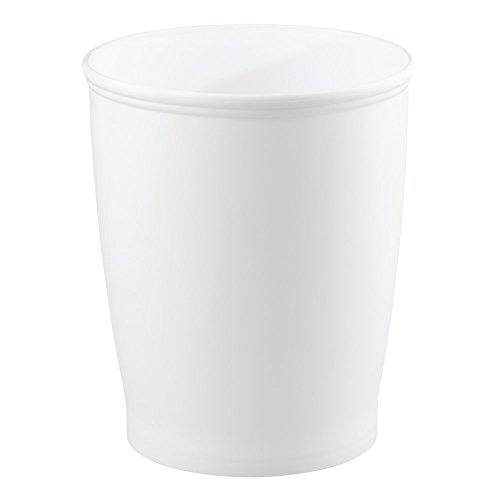 (InterDesign Kent - Round Trash Can for Bathroom, Kitchen or Office - White - 8.35 x 10 inches)
