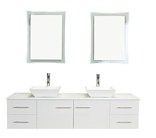 Eviva EVVN147-72WH Totti Wave Modern Double Sink Bathroom Vanity With Counter-Top And Double Sinks, White, 72