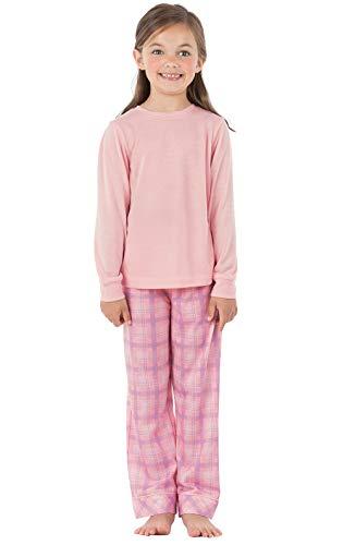 PajamaGram Big Girls' Kids Pajamas - Jersey Plaid Pajamas for Girls, Pink, 12
