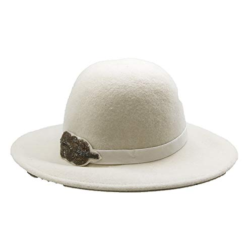 White Wool Felt Fedora Hat with Leaf Decoration- Women's Accessory ()