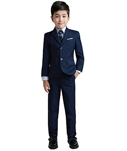 YuanLu Boys Colorful Formal Suits 5 Piece Slim Fit Dresswear Suit Set (Navy Blue, 7)