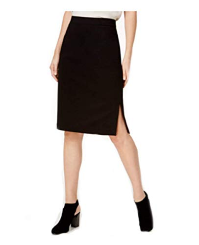 Eileen Fisher Tencel Stretch Ponte Black Skirt Side Vent S
