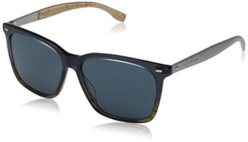 BOSS by Hugo Boss Men's B0883s Square Sunglasses, Brown Horn Palladium/Blue, 56 - Hugo Boss Blue Glasses