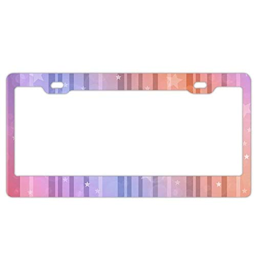 YEX Abstract Stripe Stars License Plate Frame Car Tag Frame Auto License Plate Holder 12