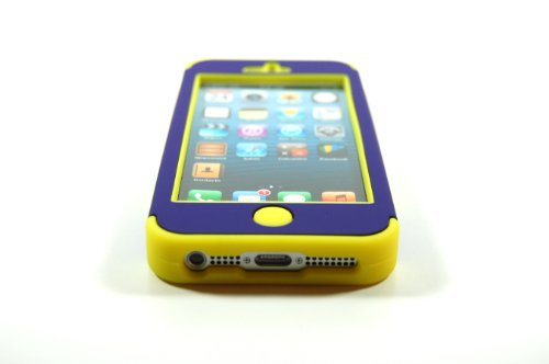 TCD for Apple iPhone 5 5S Hybrid [YELLOW AND PURPLE] RHINO ARMOR Defender Series Multi Layer [Hard/Soft Combo] Case Cover [Includes FREE SCREEN PROTECTOR AND STYLUS PEN]