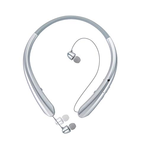 Sport Bluetooth Headphones,LISN Wireless Neckband Headset with Retractable Earbuds,Stereo Sweatproof Noise Cancelling in Ear Earphones 7-8 Hrs Playtime with Mic (Silver)