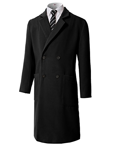 H2H Men's Stylish Wool Blend Double Breasted Pea Coat Black US XL/Asia XL (KMOCO0112)