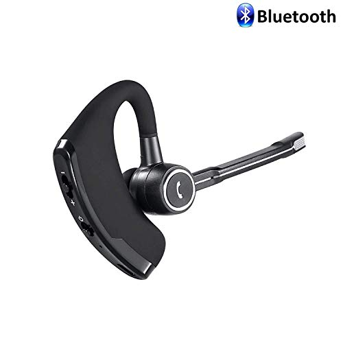 (Bluetooth Headset, BDKING Wireless Earpiece Hands Free Ear Hooks HD Stereo Noise Cancelling Headphones Business Earphones in-Ear Earbuds and Noise Canceling Mic for Business/Office/Driving Call)