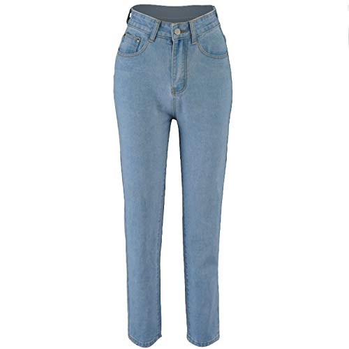 NREALY Women Mid-Waist Bandage Pocket Lace-up Jeans Casual Collared Trousers