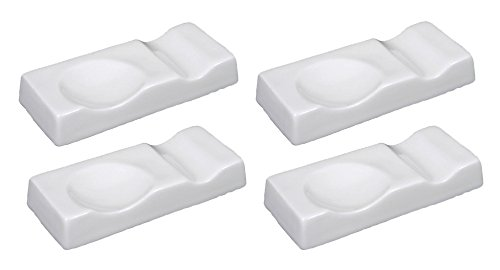 Happy Sales Set of 4 Large White Porcelain Chopstick and Spoon Rest -
