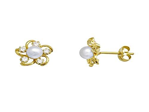 Boucled'oreille 18k or 4.5mm perle. zircons Fleur [AA5236]