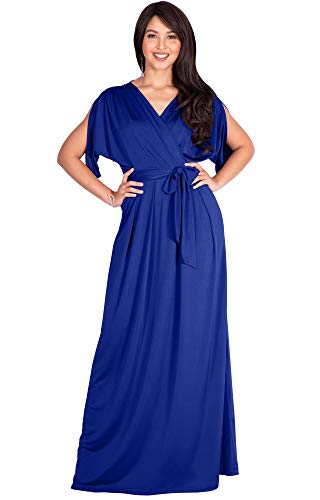 KOH KOH Womens Long Semi-Formal Short Sleeve V-Neck Full Floor Length V-Neck Flowy Cocktail Wedding Guest Party Bridesmaid Maxi Dress Dresses Gown Gowns, Cobalt/Royal Blue M 8-10