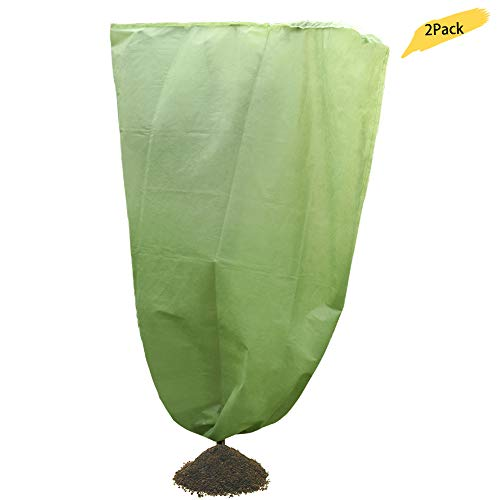 TRIEtree Plant Cover Frost Protection Blanket – Fabric Shrub Jacket – Winter Plant Protection Cover Frost Protection Cold Weather, Thick 60gsm, Green 47″ x 71″, 2Pack