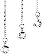 Amberta Set de 3 Cadenas de Extensión para Pulseras y Collares en Plata de Ley 925 - Kit de Extensor 2 mm para Tobilleras para Mujer - Longitudes: 25, 50, 100 mm