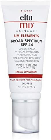 EltaMD UV Elements Tinted Facial Sunscreen Broad-Spectrum SPF 44, Water-Resistant, Oil-free, Dermatologist-Recommended Mineral-Based Zinc Oxide Sunscreen, 2.0 oz
